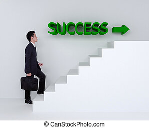 Business man stepping up on stairs to success of business