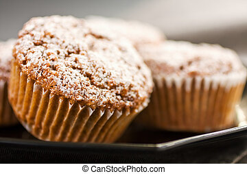 Macro Muffin - Close Up Of Muffins On A Black Plate