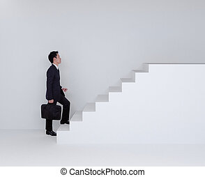 Business man stepping up on stairs - Business man stepping...