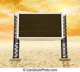 large sign board on sand with sky
