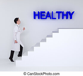 doctor stepping up on stairs to healthy - male doctor...