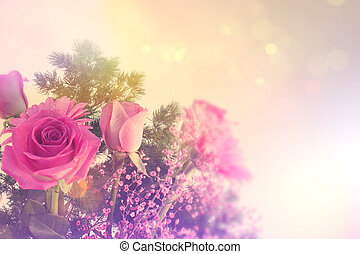Retro styled image of flowers - Flowers with a retro styled...