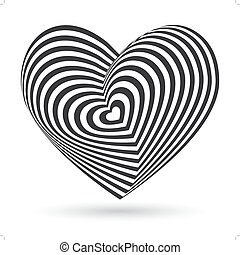 black heart on white background. Optical illusion of 3D three-dimensional volume. Vector