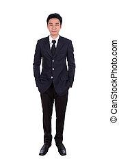 business man, full length isolated on white