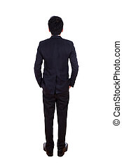 Rear view of business man pointing at something, full length isolated on white