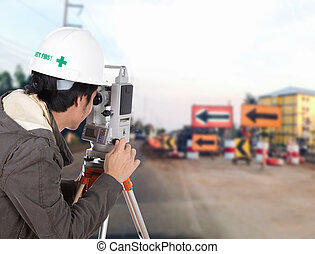 Engineers use tacheometer or theodolite with construction...