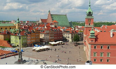 """warsaw old town square, poland, timelapse, zoom out, 4k"""