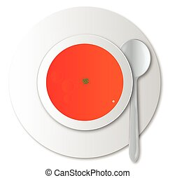Tomato Soup - A round bowl of tomato soup with silver spoon...