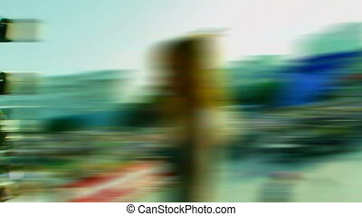 Fan - Blurred. High-speed photography of people in a circle....