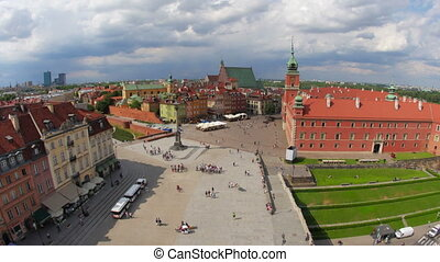 """warsaw old town square, poland, timelapse, zoom in, 4k"""