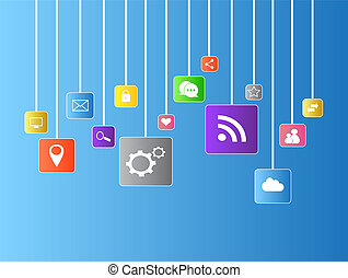 Social media icons flat vector with blue background / Social...