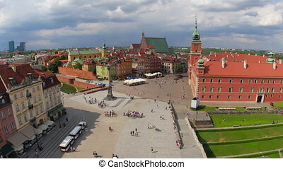 """warsaw old town square, poland, timelapse, 4k"""