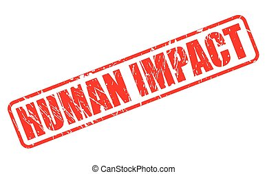 HUMAN IMPACT red stamp text on white
