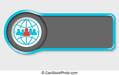 Abstract button for your white text and people symbol