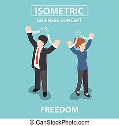 Isometric bsiness People breaking metal chain to freedom,...