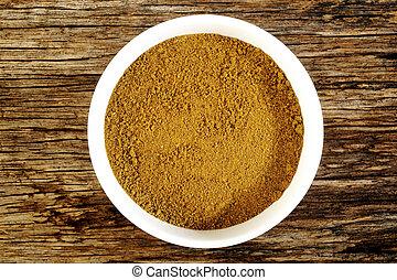 garam masala powder in white bowl