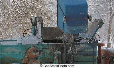 Trash collection vehicle To load garbage. Garbage truck,...