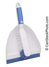 dustpan and brush - Plastic dustpan and brush isolated on...