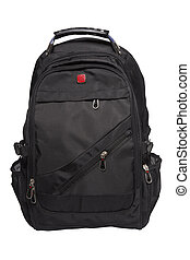 rucksack - New big black rucksack isolated on white...