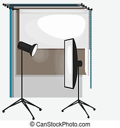 Set of photo studio equipment, paper photo background, light...