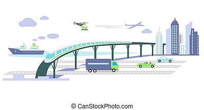 Development of Transport Infrastructure Icon Flat - Concept...