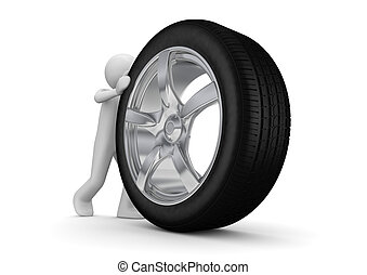Time to change your tyres - 3d isolated on white background...