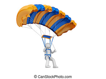 Paratrooper - 3d isolated on white background characters...