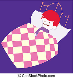 boy sleeping in his bed vector illustration cartoon