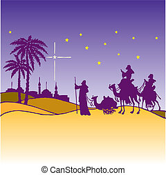 wisemen silhouette cartoon vector ilustration