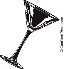 Martini glass - Black and white vector illustration an empty...