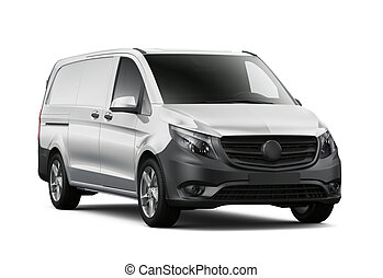 Compact commercial van isolated on white background
