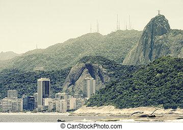Copacabana Beach and Christ, symbol of Rio de Janeiro,...