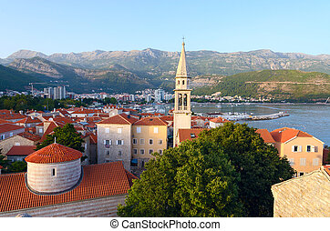 Old Town and Cathedral of St John Baptist, Budva, Montenegro...