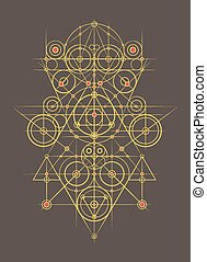 Abstract Geometrical Composition - Gold Abstract Geometrical...