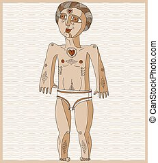 Vector illustration of nude man, Adam concept. Hand drawn...