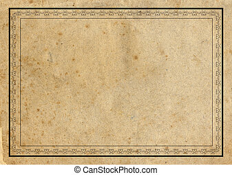Aged paper with border - Highly detailed textured vintage...