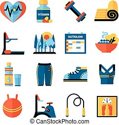 Fitness Flat Color Icons Set - Fitness flat color icons set...