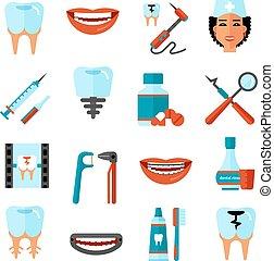 Dental Care Icon Set - Dental care flat decorative icons set...