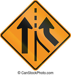 United States MUTCD road sign - Intersection with merge.