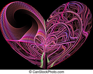 Abstract digitally generated image heart of twisted yarns -...