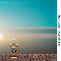 Relax,Vacation time,Holiday,wooden texture floor balcony with skyline nature scenery background ,with coffee cup