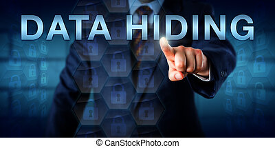 Adversary Pressing DATA HIDING Onscreen - Male adversary is...