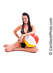 isolated photo set of the woman in swimwear