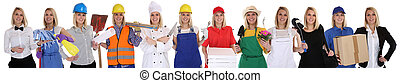Group of workers professions women business occupation career isolated