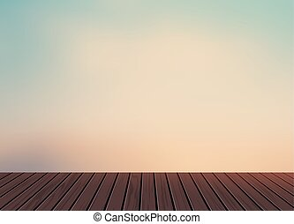 Relax,Vacation time,Holiday,wooden texture floor balcony with morming light blue sky in nature scenery background