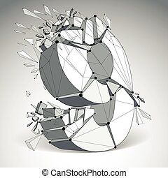 Abstract vector low poly wrecked number 9 with black lines and dots connected. 3d origami futuristic font with lines mesh.