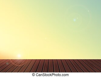 Relax,Vacation time,Holiday,wooden texture floor balcony with skyline nature scenery background