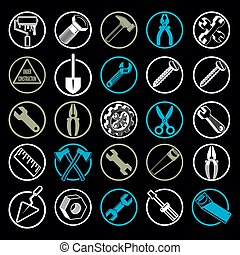 Stylized industrial vector icons, 3d work tools collection...