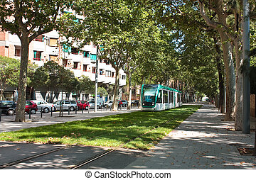 Tram - tram on the streets of Barcelona