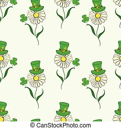 Seamless camomiles of Saint Patrick - Seamless texture with...